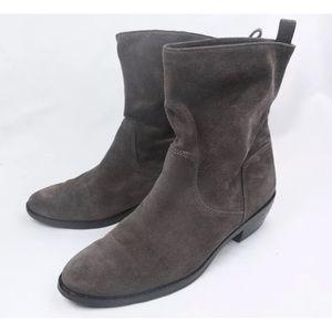 Via Spiga Suede Leather Low Heel Slip On Boots